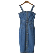 2019 Summer Women Denim Dress Sundress Sarafan Overalls Bottons Jeans Female Casual Vintage Blue Sexy Bodycon