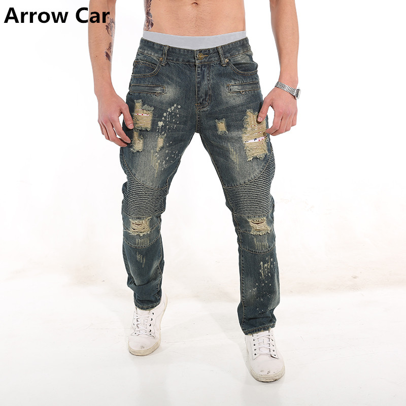 Arrow Car Mens Thin Section Hole Washed Fold Jeans Summer New Mens Large Size Straight Trousers Jeans Men