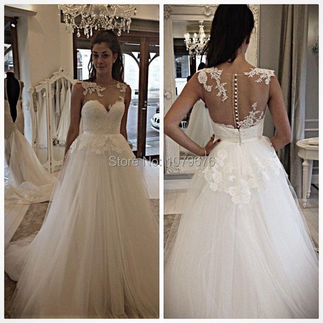 Boat neckline lace wedding dress
