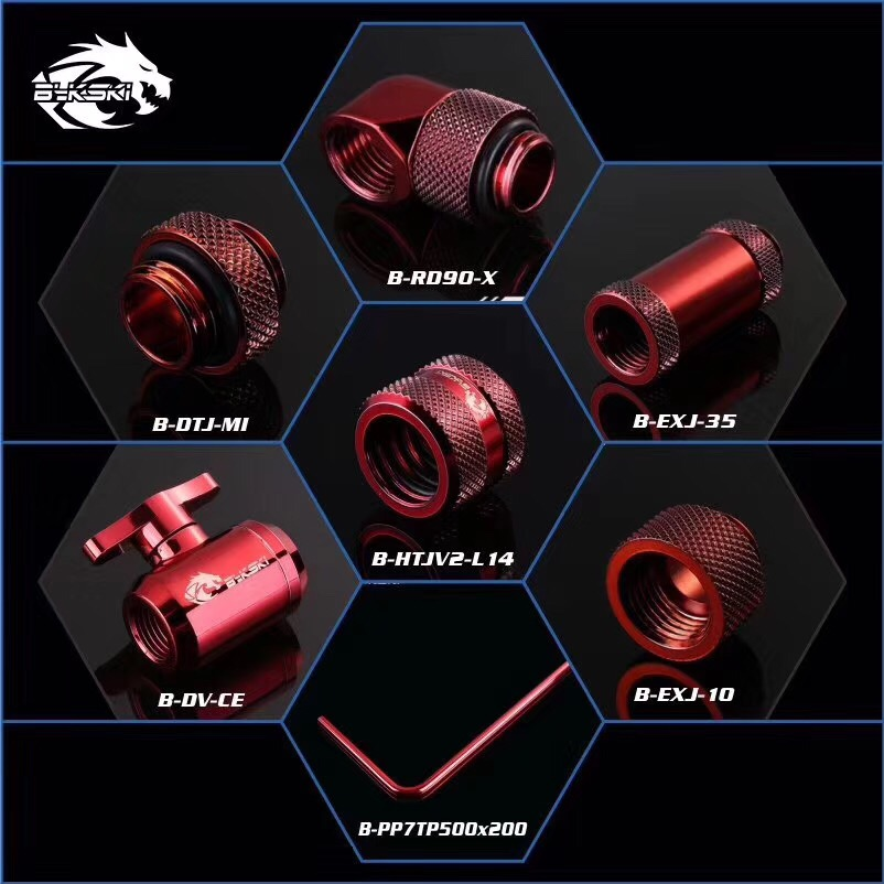 BYKSKI red Version G1/4 Plug / Hose Fitting / OD14mm Hard Tube Fitting / Filter / Thermometer / Rotary Fitting / Water Switch rigid tubing compression hand twist for od14mm acrylic hard pipe water cooling fitting g1 4 3 laps 7 colors