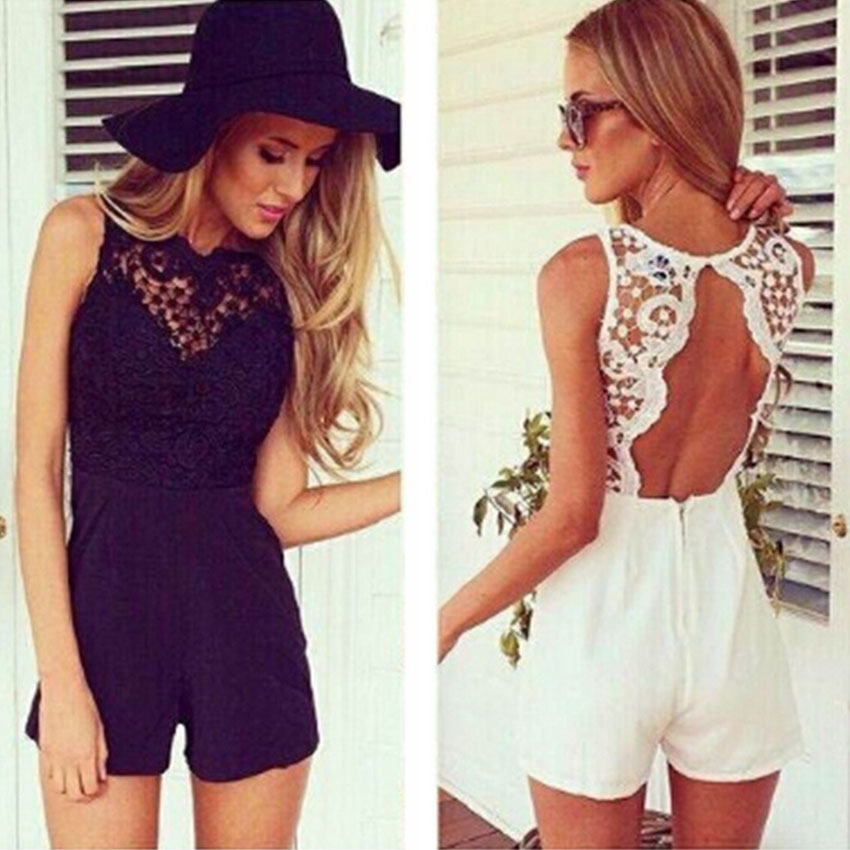 Avodovama M Women Summer 2017 Sexy Jumpsuit Sleeveless Flower Lace Playsuits Solid Colors Halter Black