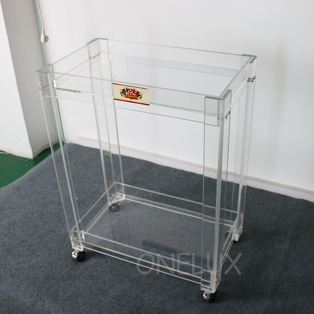 Купить с кэшбэком High Transparency Acrylic Home Use serving bar cart on wheels ,Lucite  Rolling trolleys for Dining -62W37D82H CM