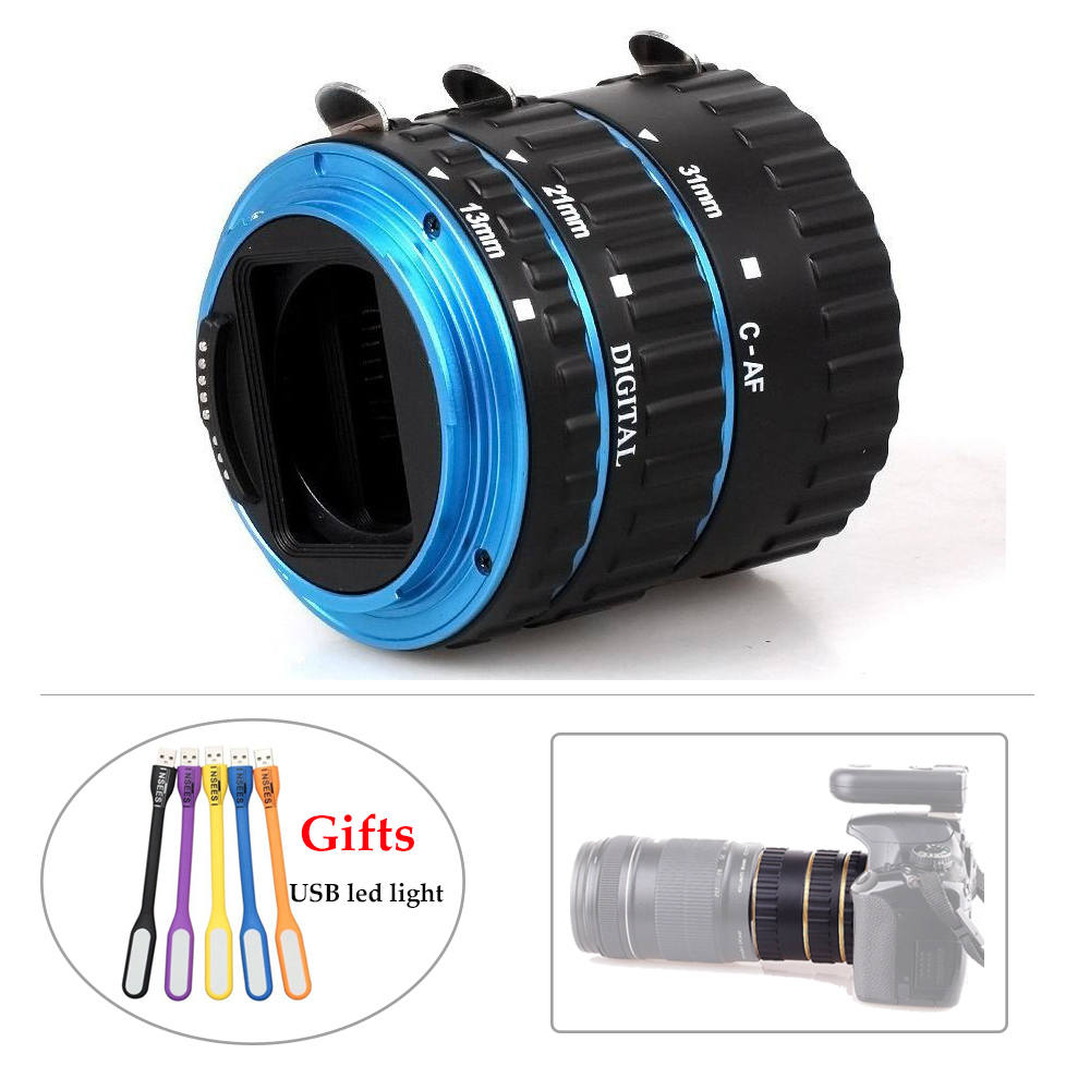 Pixel Gold or Blue Auto Focus AF Mount Macro Extension Tube Ring Lens Adapter for Canon DSLR with Mini Flexible USB LED Light