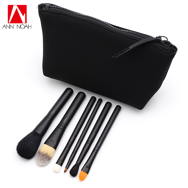 2 Options Black Feature Portable Medium Size 6pcs Cosmetics Look In A Box Basic And Advanced Makeup Brush Set With Pouch