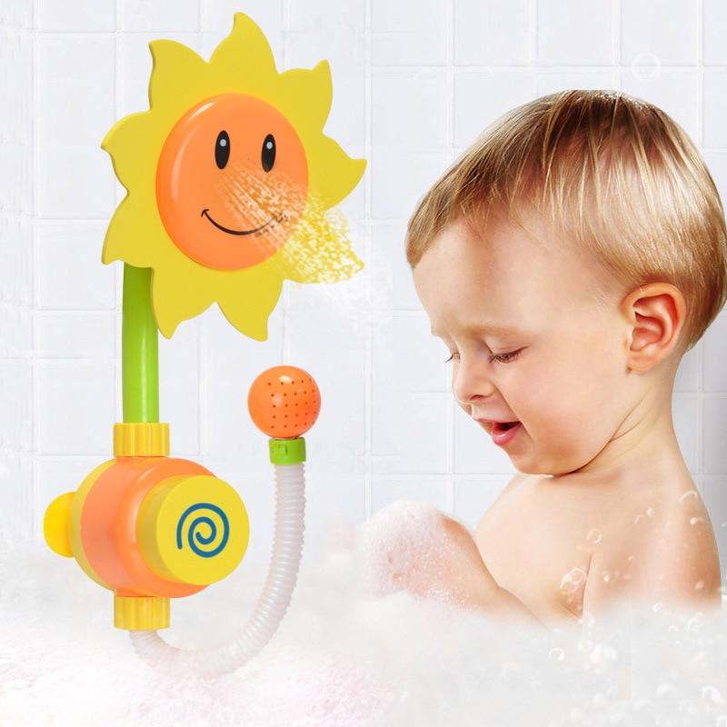 Us 12 2 15 Off Baby Kids Shower Bath Toys Swimming Bathroom Sunflower Shower Faucet Fun Playing Newborn Boys Girls Toys Children Brain Game In Bath