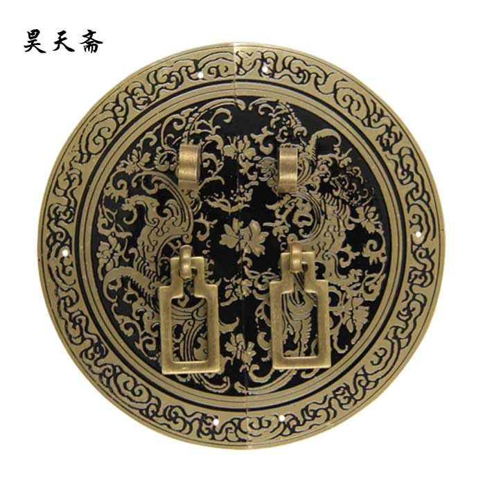 [Haotian vegetarian] bronze Ming and Qing furniture door handle Chinese copper copper accessories furniture accessories HTB-321 [haotian] bronze fast new chinese antique furniture ming and qing copper door handle lock sheet four seasons peace subsection