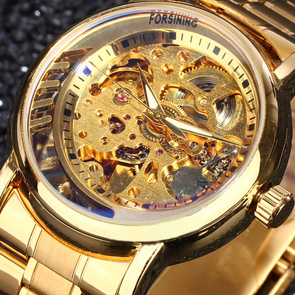 2016 hot men Top Brand Luxury Automatic Mechanical Skeleton Watch Clock Forsining 3D New Series Hollow Full Golden relogio gift forsining classic series black genuine leather strap 3 dial 6 hands men watch top brand luxury automatic mechanical watch clock