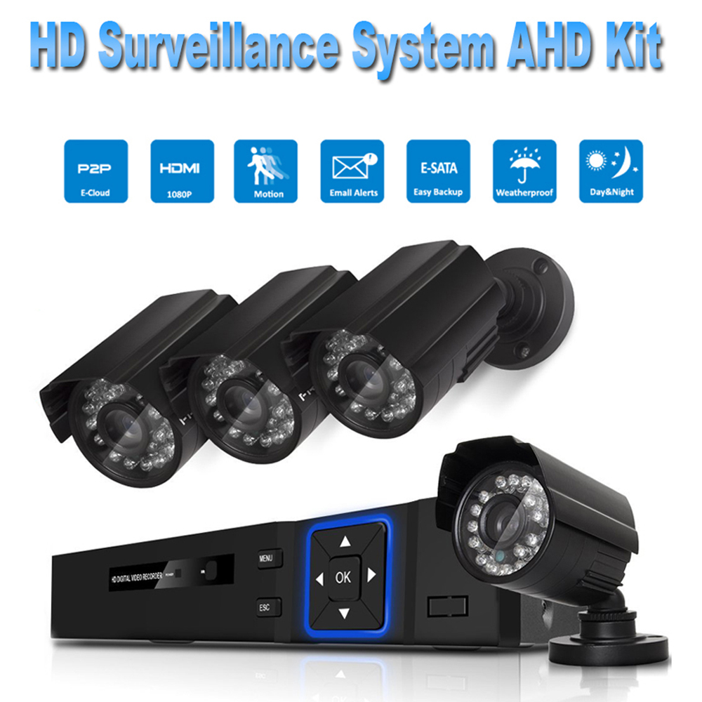 PUAroom 4CH IP66 night vision AHD camera RoHS FCC CE approved H.264 onvif video recording Security & Surveillance System