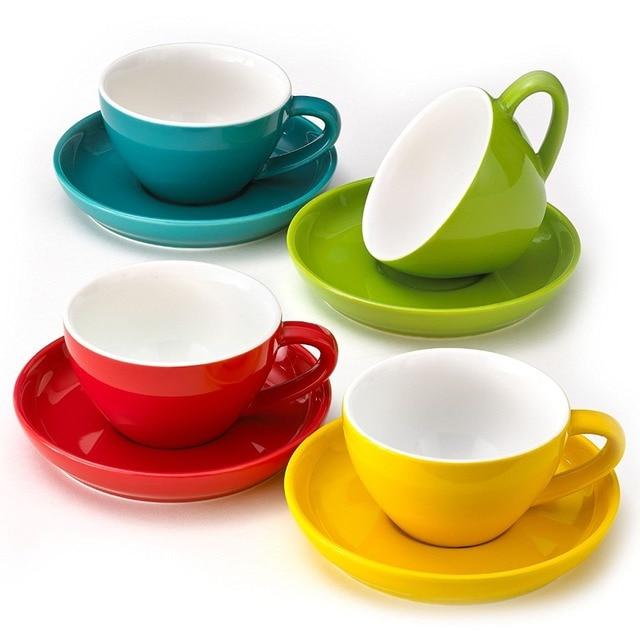 multi farben cappuccino tassen und untertassen durable porzellan 220 ml kapazit t f r. Black Bedroom Furniture Sets. Home Design Ideas