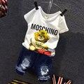 2016 Crianças Dos Desenhos Animados Urso Branco Camiseta Ripped Denim Shorts 2 Peças Meninas Meninos Verão Conjuntos de Roupas Casuais