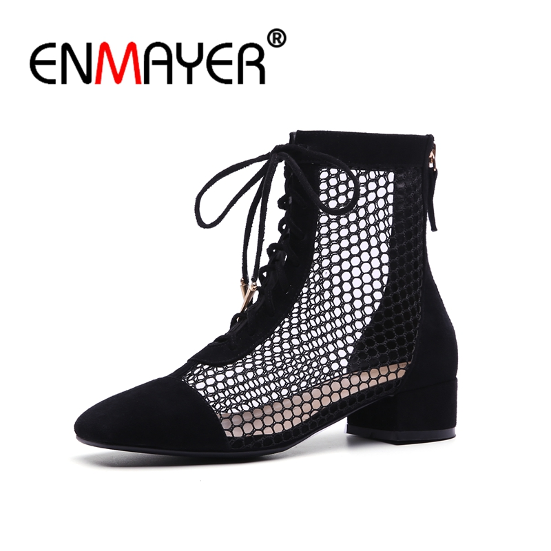 ENMAYER Woman Ankle boots Size 34-39 Square Toe Fashion Boots for Women Spring Autumn Thick heels Summer Hollow Zip CR654