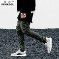 Punkool calças dos homens da marca dos homens zíper lateral fino o medo de deus Kanye West Yeezy Impulso Ocasional Calças Elástico Preto/verde Harém calças