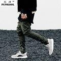 Punkool marca pantalones para hombre hombres cremallera lateral delgada miedo de dios Kanye West Yeezy Aumentar Casual Pantalones Elásticos Negro/verde Harem pantalones