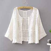 Womens Clothing Lace Cotton Coat Crochet Cardigan White Blouses Shirts Sexy Hollow Out Knitted Chemise Femme 861H6