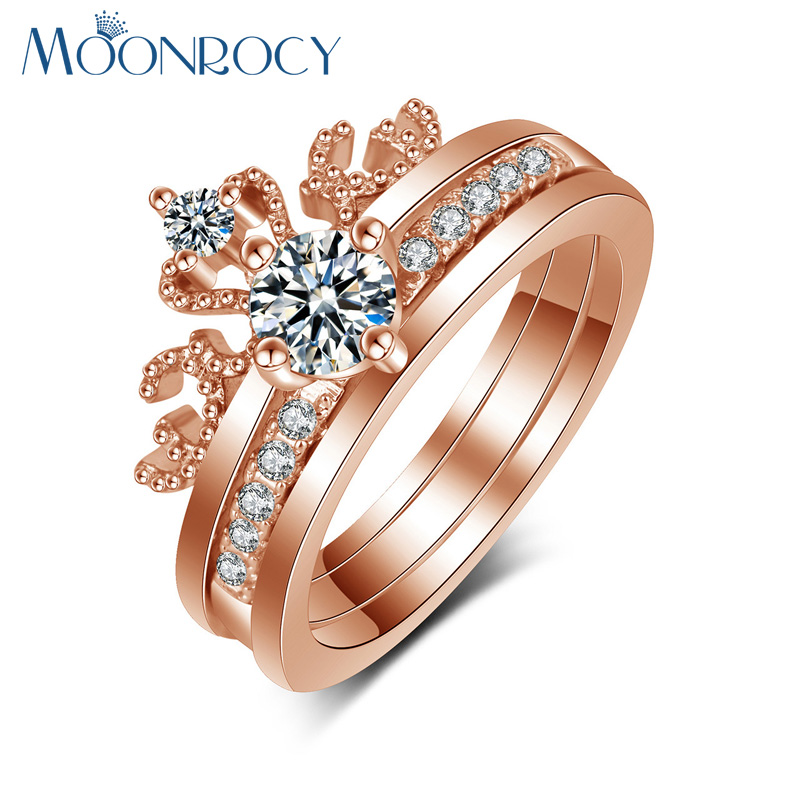 MOONROCY Free Shipping Silver Color Rose Gold Color Cubic Zirconia Crown Engagement Wedding Promise Crystal Ring for Women Gift