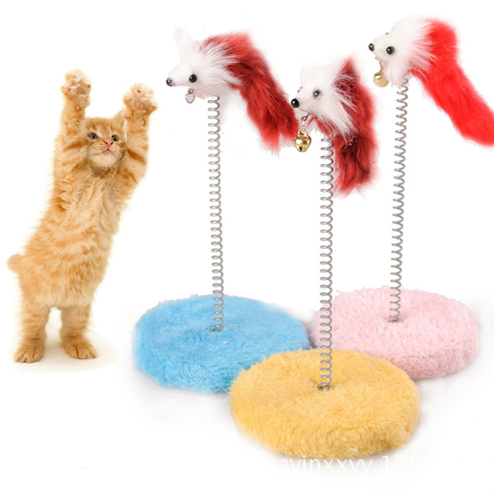 Color of cats fur - 1pc Cute Cat Scratch Board Mouse Ball Toy Plate Cat Sticks Toys Pet Frame Spring Bells