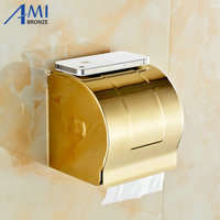 Golden Stainless steel Paper Holder BOX Wall Mounted Bathroom Accessories Sanitary wares 7009G