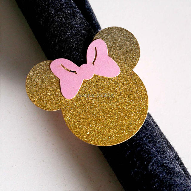 Minnie mouse Napkin Rings Set of 24 pink and gold napkin rings
