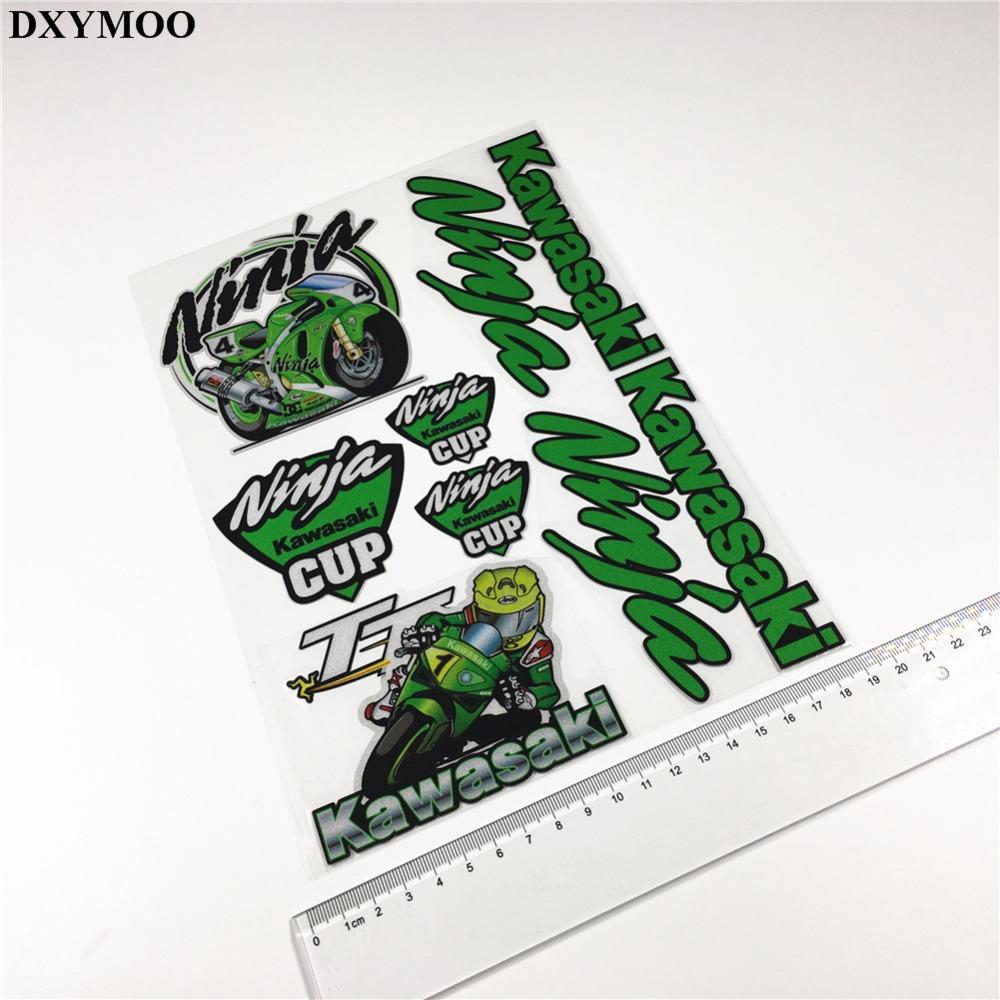 Pack of 9pcs motogp racing team motorcycle car sticker vinyl decals reflective for kawasaki ninja cup in decals stickers from automobiles motorcycles on