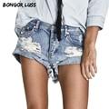 БОНГОР ЛАСС Новая Мода Джинсы Девушку Midi Талия Рваные Джинсы повседневная Карманы Стиль Отверстие Короткие Джинсовые Брюки Плюс Размер Женщин джинсы