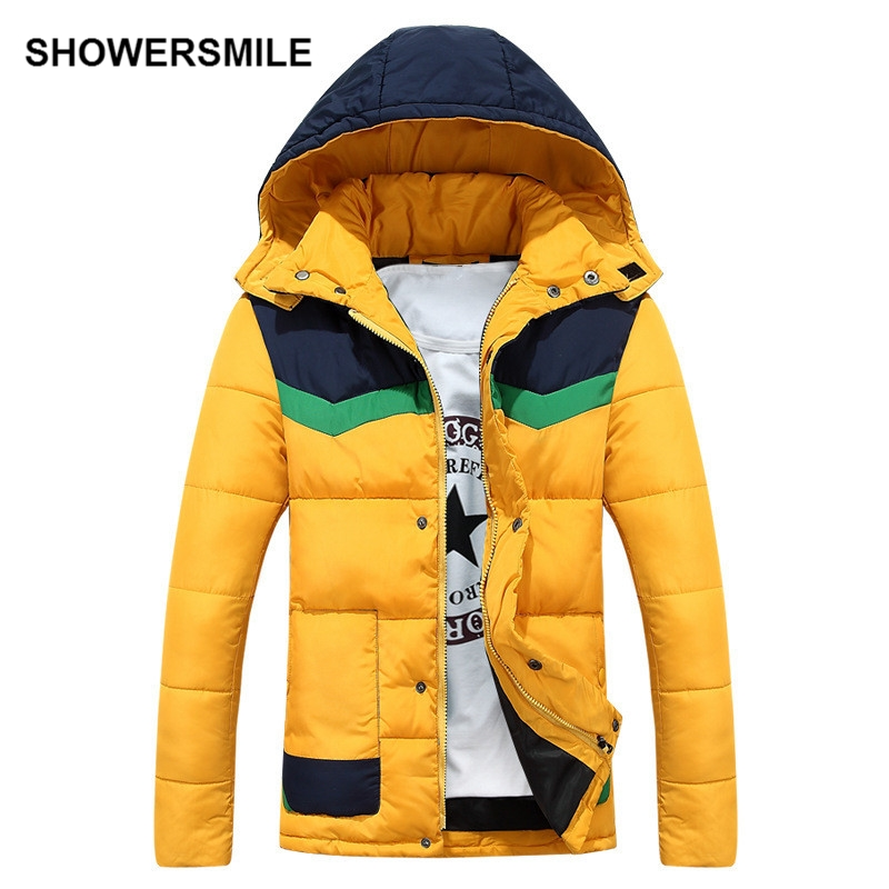 ФОТО SHOWERSMILE Brand Plus Size Mens Winter Jackets And Coats Hooded Hat Detachable Patchwork Cotton Padded Parka Quilted Jacket