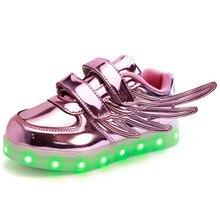 Размер 25-37 детей кроссовки USB зарядки дети СВЕТОДИОДНЫЕ светящиеся shoes мальчики девочки красочные мигающие огни дети Светящиеся wing Shoes