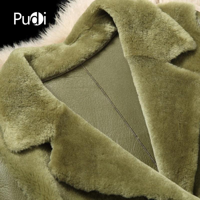 Manteau Pardessus Pudi Veste De A21413 Véritable La Hiver Longue Mouton À Col Fourrure Dame L'intérieur Peau Rabattu Avec Femmes Laine n1qnH