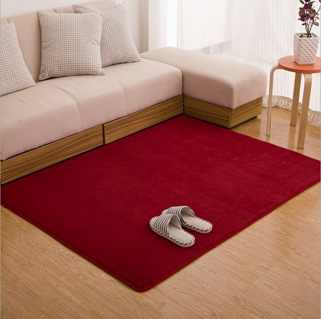 Sunnyrain Solid Color Short Plush Indoor Rugs And Carpets For Living Room Skidproof Red Carpet