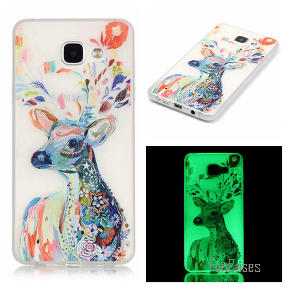 New Fashion Luminous night Slim phone Cases for Samsung Galaxy A5 2016 A510 A510F Fluorescence Soft TPU Silicon back cover skin