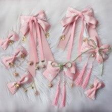 Розовый кролик Сакура косплей Лолита каваи кисточка бант заколка для волос Головные уборы Японские Женские кимоно горничной боковая Зажимная лента