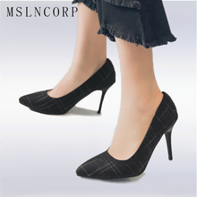 size 34-48 New Women Shallow Office Shoes Arrival Sexy Concise Solid High Heels Pointed Toe Pumps Fashion Party Zapato Mujer