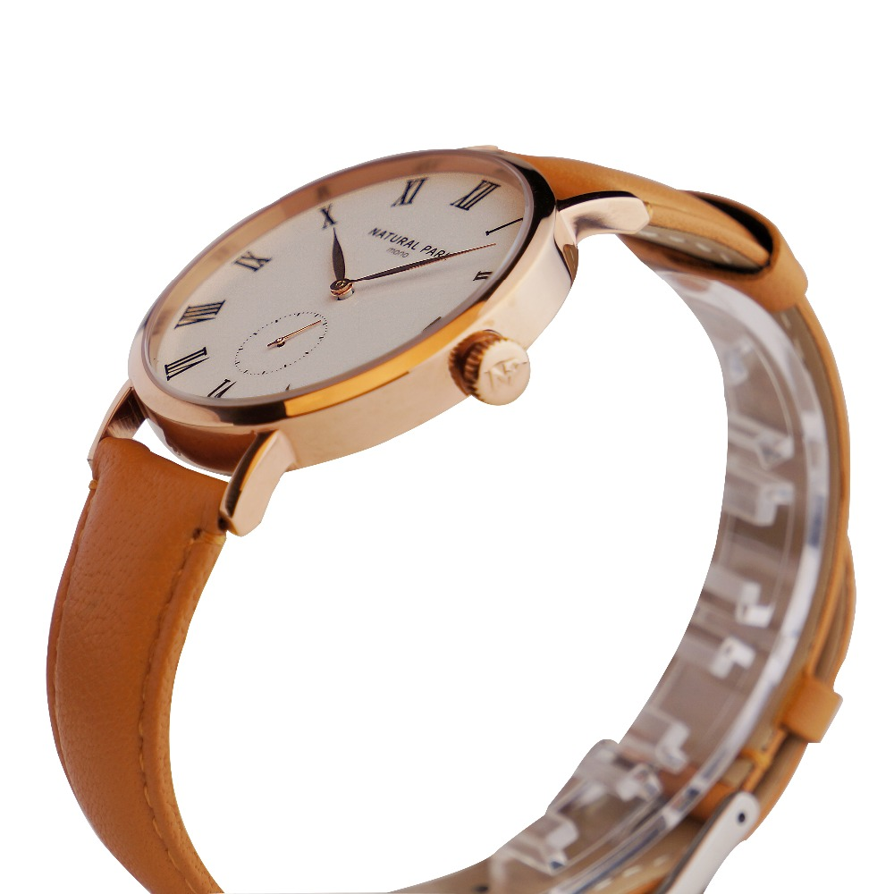 Simple Business Watch Quartz Men Fashion Brand Watch Casual Wristwatch NATURAL PARK relojes hombre Leather Strap 3ATM NP1320M