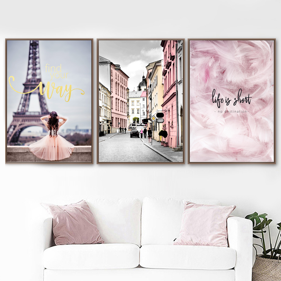 Wall Art Print Pink Paris Girl Dream City Canvas Painting ... on Room Decor Posters id=31223