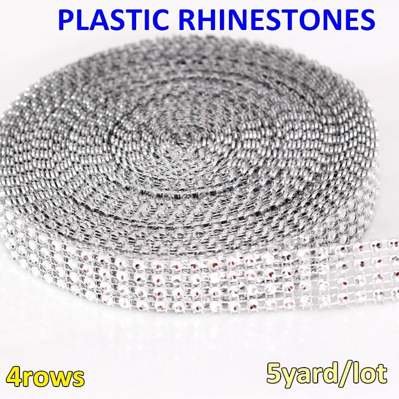 5yard lot 4mm 4rows Rhinestone Chain Plastic Rhinestone Silver Mesh Trim  For DIY Crafts Cake 343fe87297a2
