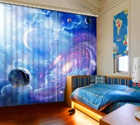 New Thickness Blackout Curtains fantasy sky universe Kids Room Curtains Beautiful 3D Curtains For Living room Bedroom