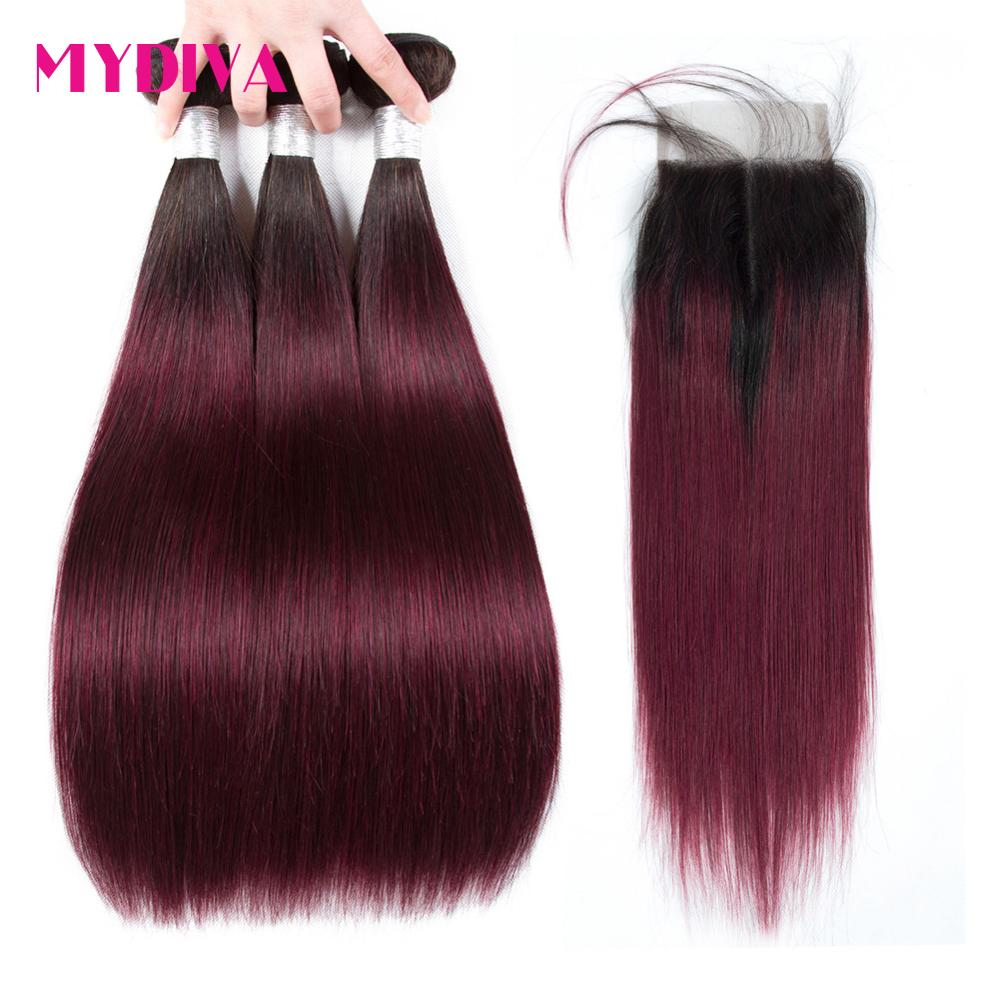 Burgundy Ombre Bundles With Closure Brazilian Hair Weave 3 Bundles With Closure Straight Colored Bundles With