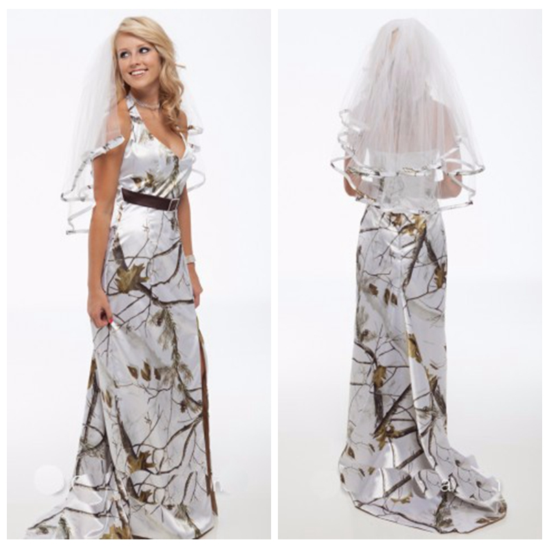 2019 Halter White Camo Camouflage Wedding Dress With Veil Bridal Gowns Sweep Train Sexy Split Front Long Vestidos De Mariage