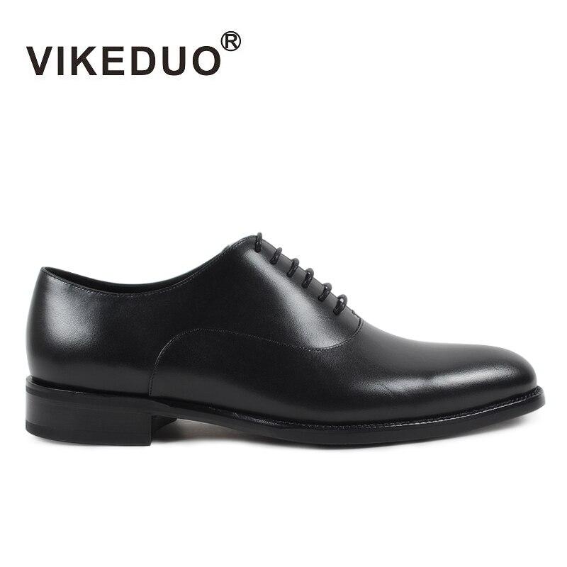 VIKEDUO nouveau fait à la main hommes Oxford chaussures solide noir véritable en cuir de veau chaussure de mariage mâle formel bureau chaussures Zapatos Hombre