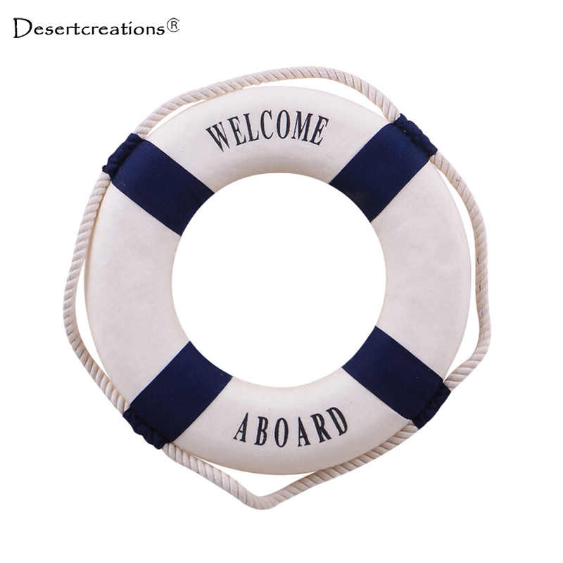 Navy Style Lifebuoy Home Decor Nautical Welcome Aboard Decorative Ring Room Bar Home Decoration