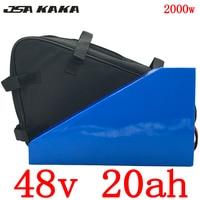 EU US No tax 48V 20AH Triangle battery 48V 1000W 2000W electric bike battery 48V 20AH Lithium battery with 54.6V 5A charger+bag