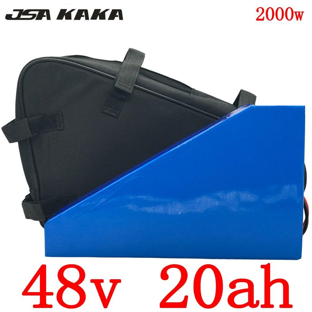 Ue eua nenhum imposto 48 v 20ah triângulo bateria 48 v 1000 w 2000 w bicicleta elétrica bateria 48 v 20ah bateria de lítio com 54.6 v 5a carregador + saco