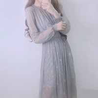 Female Japanese Fashion Midi Fairy Dress Spring Vintage Galaxy Embroidery Sexy Tulle Dresses Women Kawaii Party Long Dresses