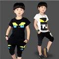 2016 Nuevo Chándal Niños Niños Ropa Casual de Verano Niños Ropa Fresca de Manga Corta camiseta de Hip Hop Roupa Menino