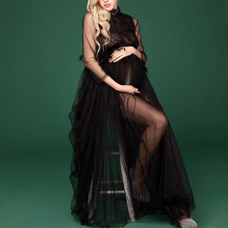 Pregnant Women Photoshoot Black Lace Long Dress Clothes Maternity Baby Showers Photography Plus Size Lace Dress Props Costume empire waist lace bodycon plus size cocktail dress