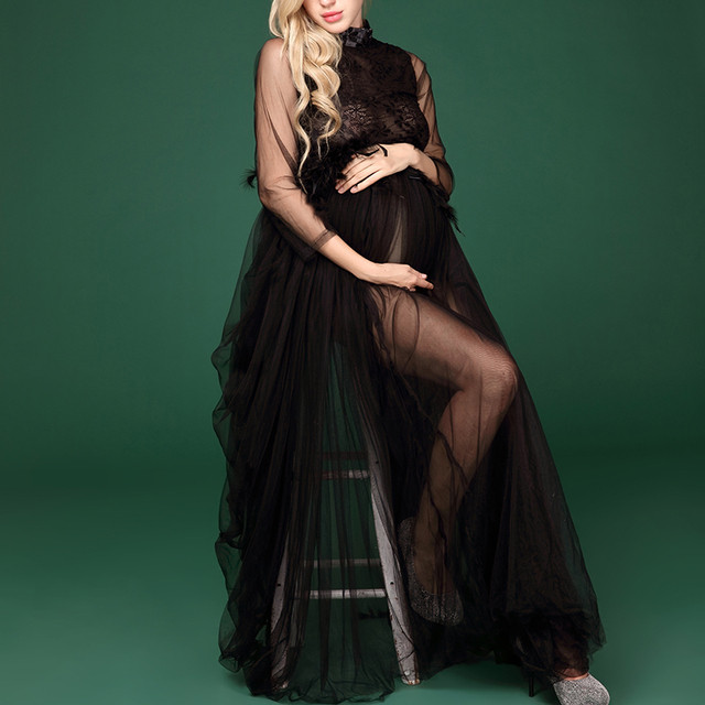 Pregnant Women Photoshoot Black Lace Long Dress Clothes Maternity