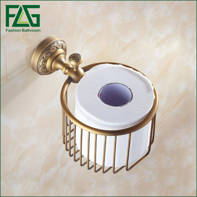 Free Shipping Antique Bronze Finish Solid Brass Bathroom Paper Towel Basket Toilet Paper Holder Toilet Accessories bathroom accessories golden bronze copper antique wastebasket paper towel holder cosmetics basket toilet paper holder hj 1905k