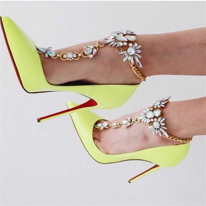 Shiny Tassel Crystal Charms Anklets Chain Rhinestone Foot Jewelry Barefoot Sandal for Wedding Leg Bracelet Trendy Jewelry Love Gift 2 pcs