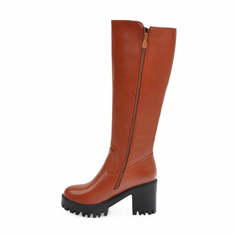 MEMUNIA Büyük boy 34-45 diz yüksek çizmeler sonbahar kış platform ayakkabılar kadın PU yumuşak deri yüksek topuklu çizmeler kadın
