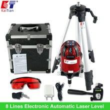 KaiTian Niwelator Laserowy Obrotowy Statyw z Elektroniczna Automatyczna Funkcja Slash Zewnątrz UE Krzyż Linia 8 Linie 3 Punktów 635nM Lasery