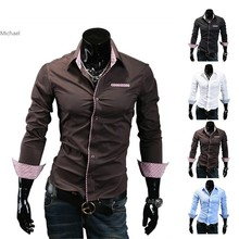 New Mens Shirts Classic Long Sleeve Male Slim Fit Formal Casual Shirts 4Colors 4Sizes